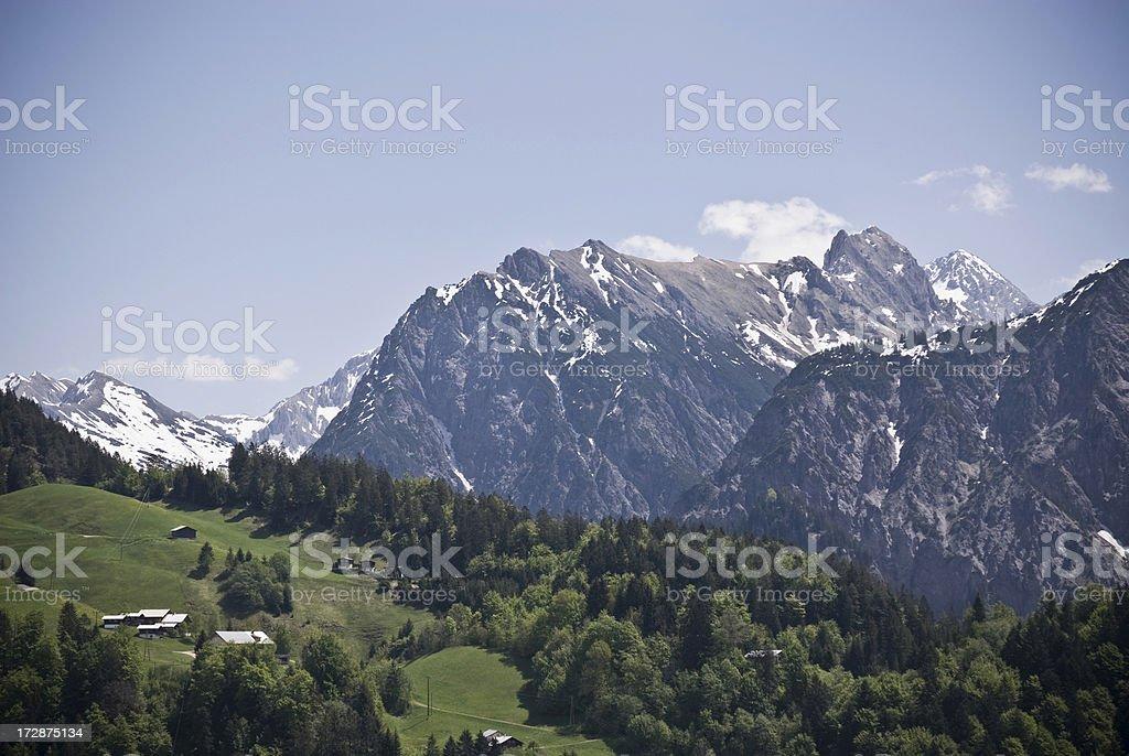 Alpine Valley Snowcapped Peaks royalty-free stock photo