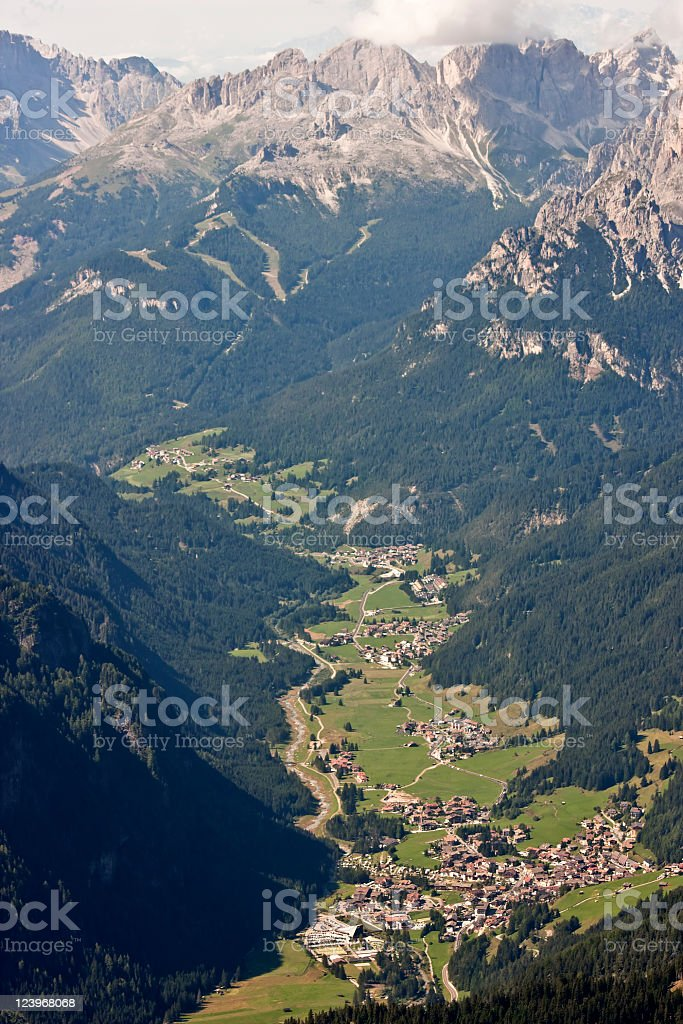 Alpine Valley with Italian Villages, Dolomites in Summer royalty-free stock photo