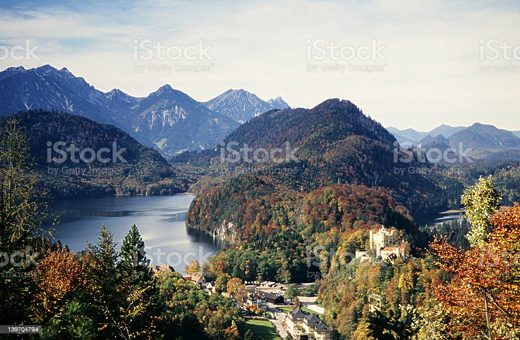 Alpine View and Castle Hohenschwangau 2 stock photo