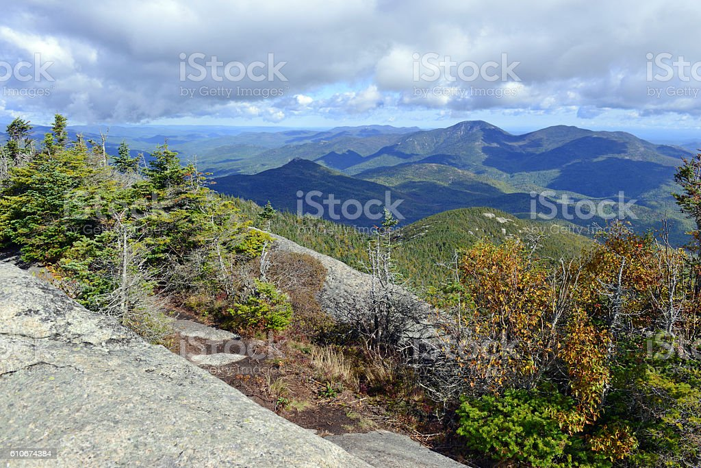 Alpine view from summit of a 46er, Adirondacks, New York stock photo
