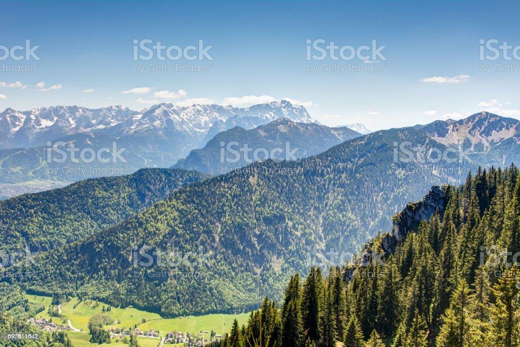 Alpine view to mount Zugspitze stock photo