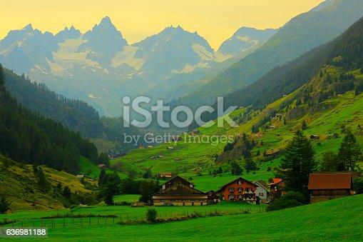 Alpine village, Bernese Oberland swiss alps landscape, near Susten Pass, Switzerland