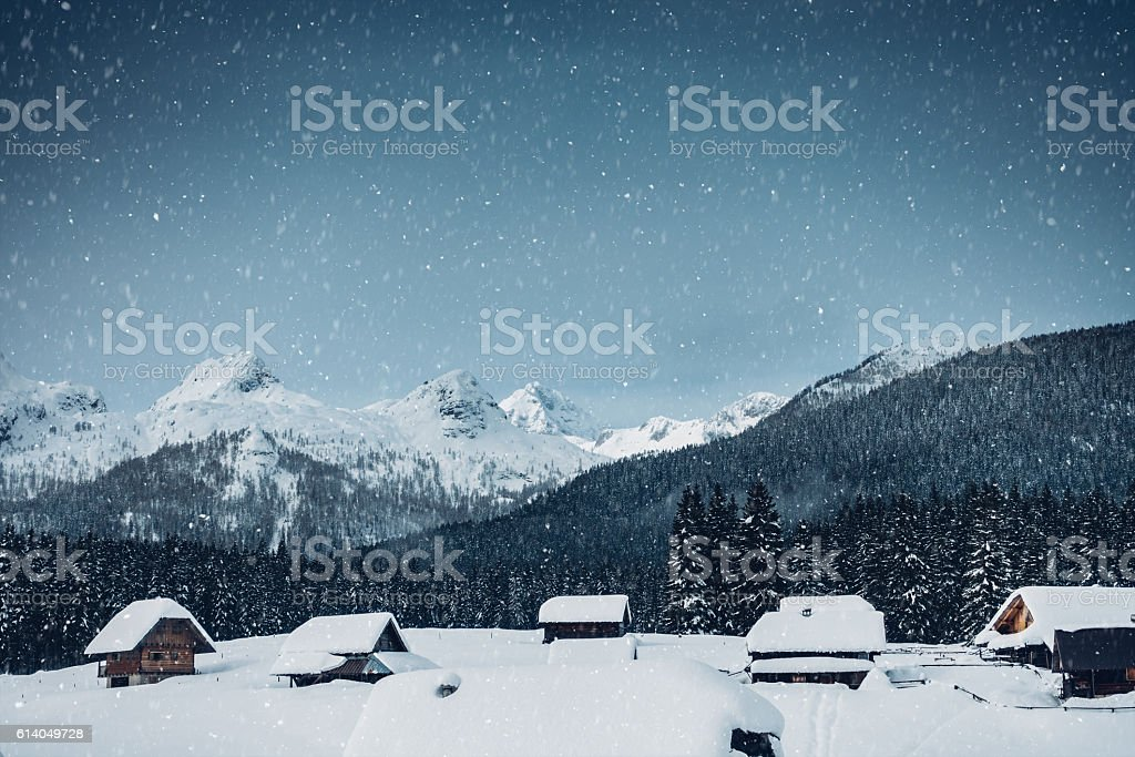 Alpine Village Covered With Snow stock photo
