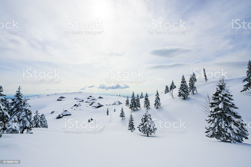 Alpine Village Covered With Snow – Foto