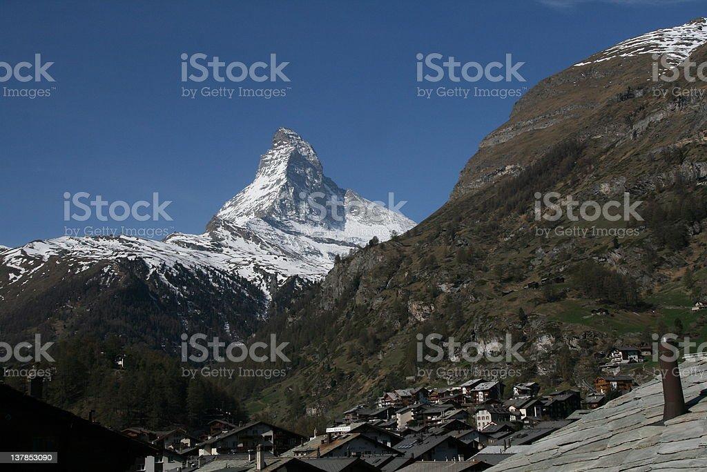 Alpine Village & Matterhorn royalty-free stock photo