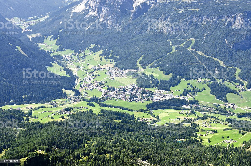 Alpine villages and residence aerial view royalty-free stock photo