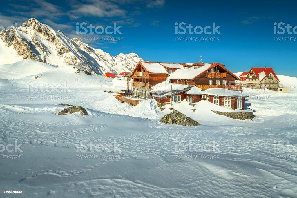 Alpine winter landscape with frozen Balea lake, Transylvania, Romania, Europe stock photo