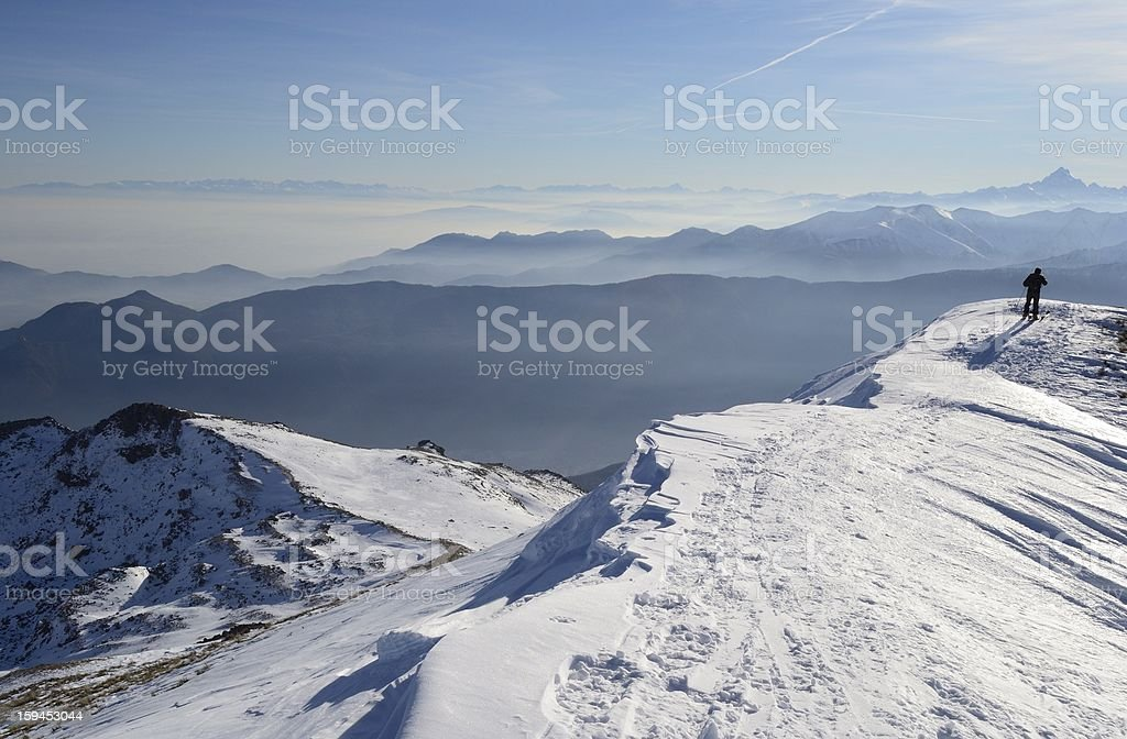 Alpinist in scenic high country background royalty-free stock photo