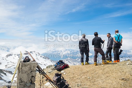 istock Alpinists on top at high altitude in the Alps 475945856