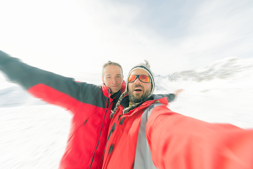 istock Alpinists selfie on the top 470748188