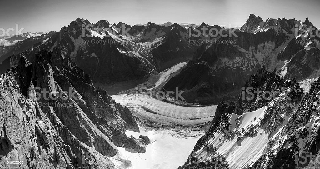 Alps above Chamonix from Aiguille du Plan stock photo