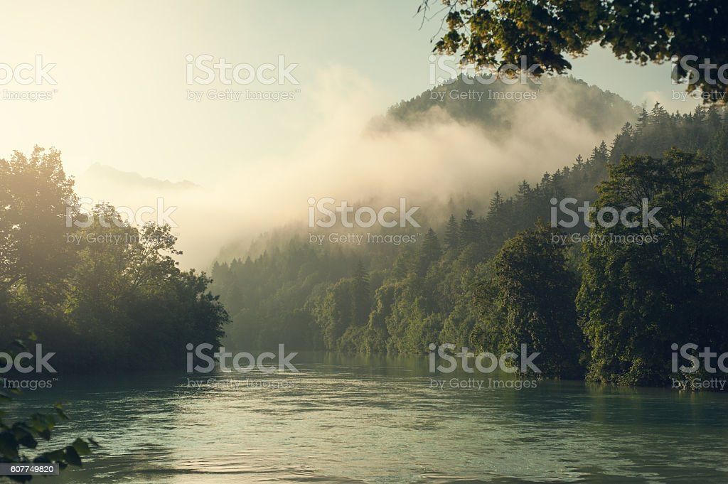 Alps and fog in early morning sun stock photo