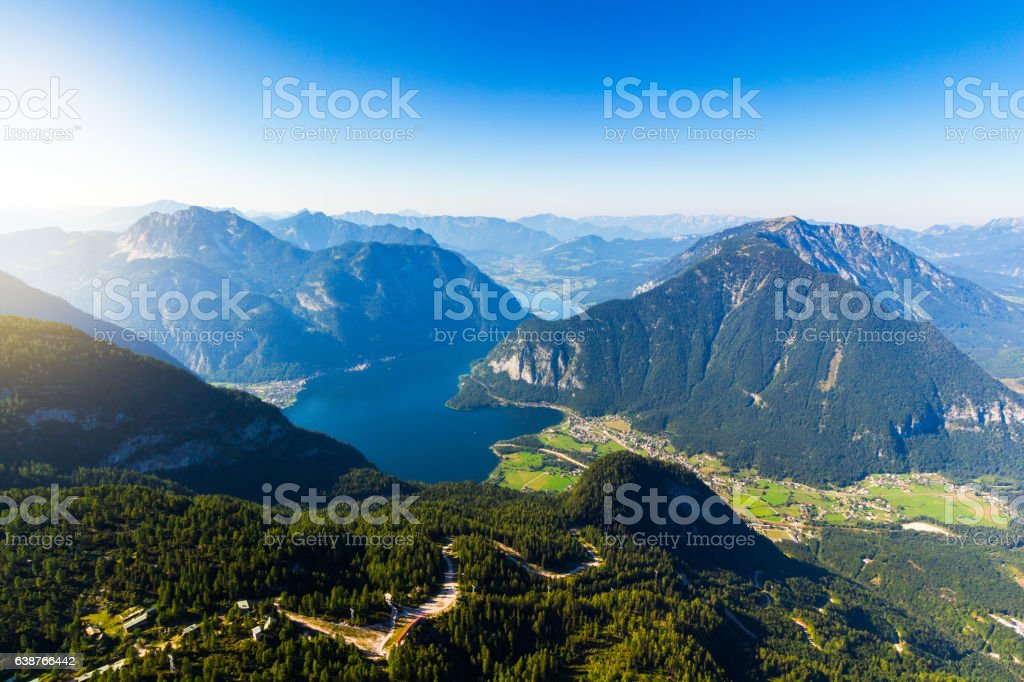 Alps and lake Hallstatt from Five Fingers at Dachstein massif. stock photo