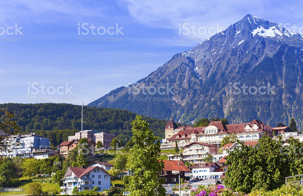 Alps and Spiez village view royalty-free stock photo