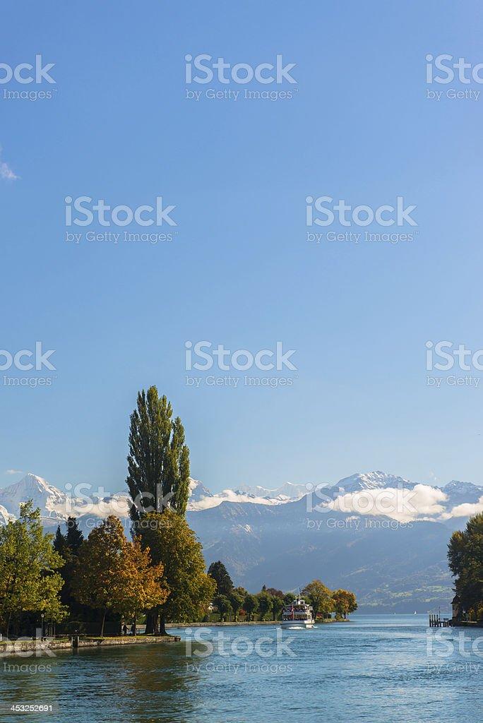 Alps and Thun lake near Spiez town in Switzerland, Europe stock photo