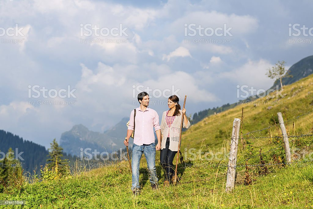 Alps - Couple hiking in Bavarian mountains royalty-free stock photo