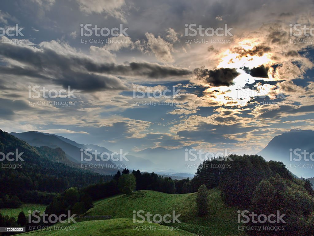 Alps in clouds royalty-free stock photo