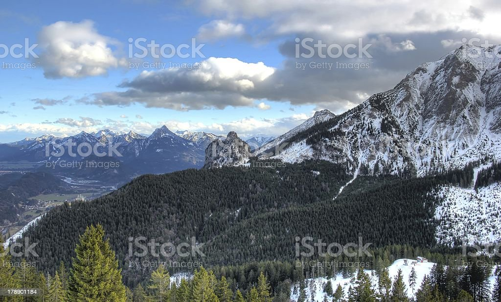 Alps in winter (view from the Breitenberg-mountain). stock photo