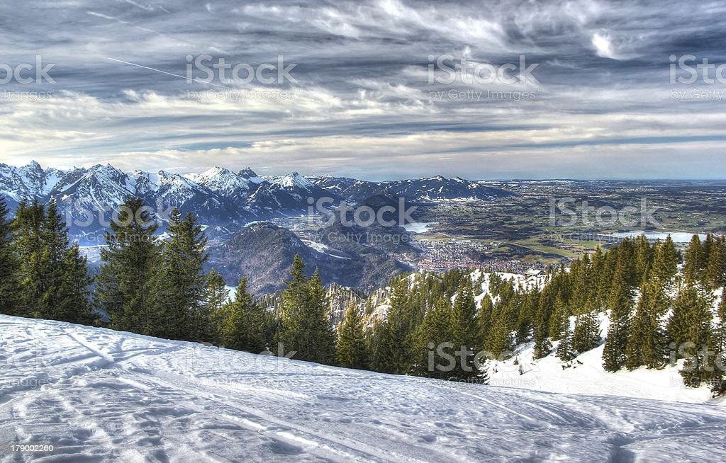 Alps in winter (view from the Tegelberg-mountain). royalty-free stock photo