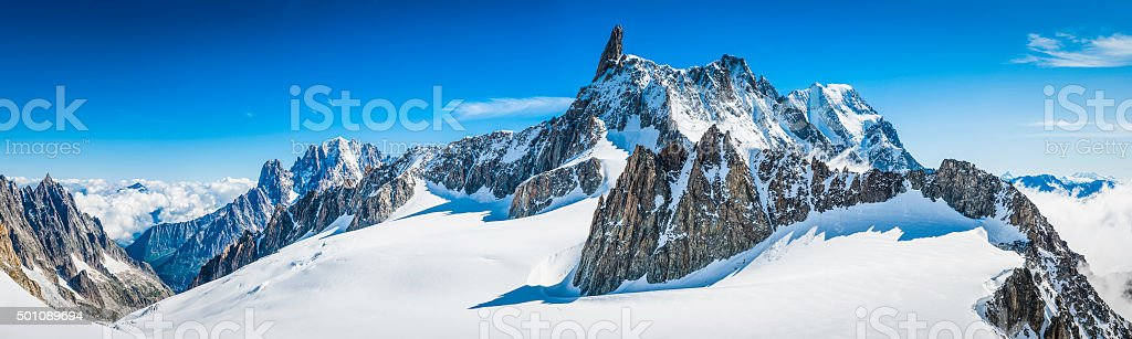Alps jagged mountain peaks panorama above snowy Vallee Blanche Chamonix stock photo