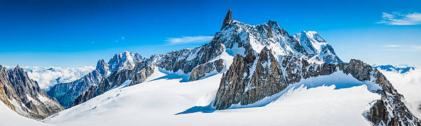 alps jagged mountain peaks panorama above snowy vallee blanche chamonix - snowy mountains stock photos and pictures