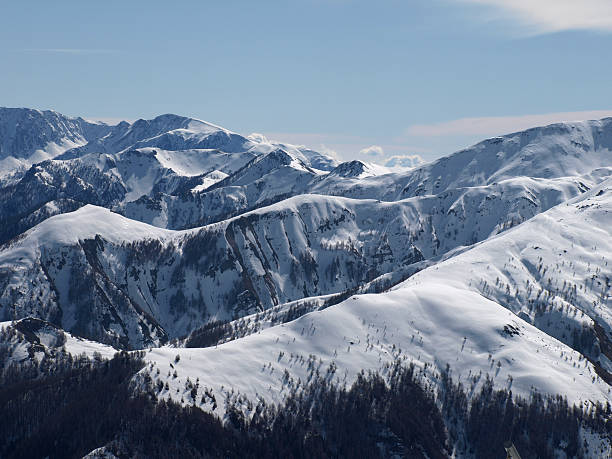 Alpen-Landschaft im winter nahe Auron Mercantour Frankreich – Foto