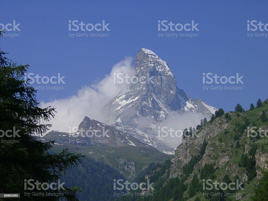 Alps, Matterhorn mountain face, Switzerland royalty-free stock photo