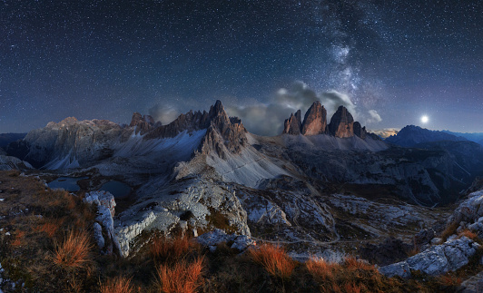 istock Alps Mountain landscape with night sky and Mliky way, Dolomites 617565930