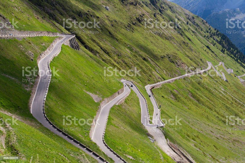 Alps mountain road Passo dello Stelvio stock photo