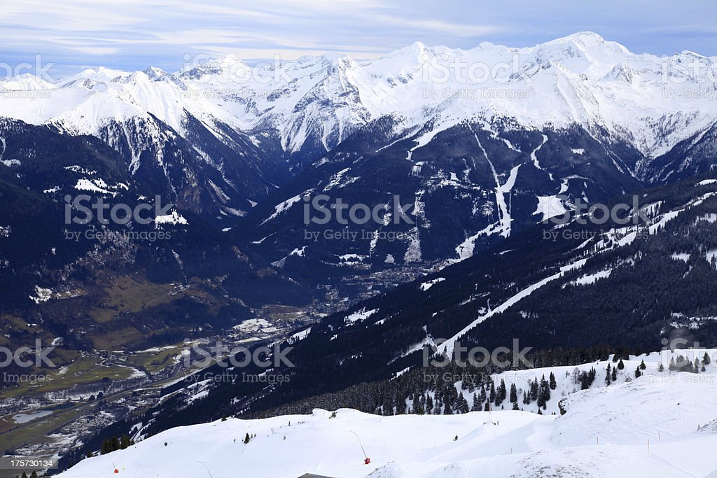 Alps Mountains and Alpine Village in the valley (Austria) royalty-free stock photo