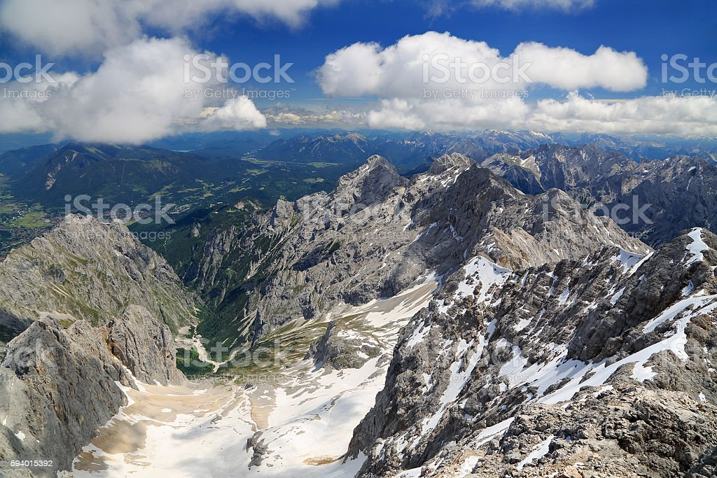 Alps mountains view from the top of Zugspitze, Germany stock photo
