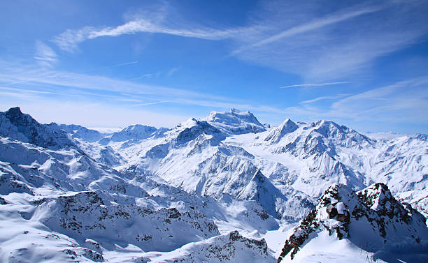 Alps of Verbier This is a photo taken from one of the highest points in Verbier in mars 2009. To the right in the picture can you discover a fascinating alpine hut. swiss alps stock pictures, royalty-free photos & images