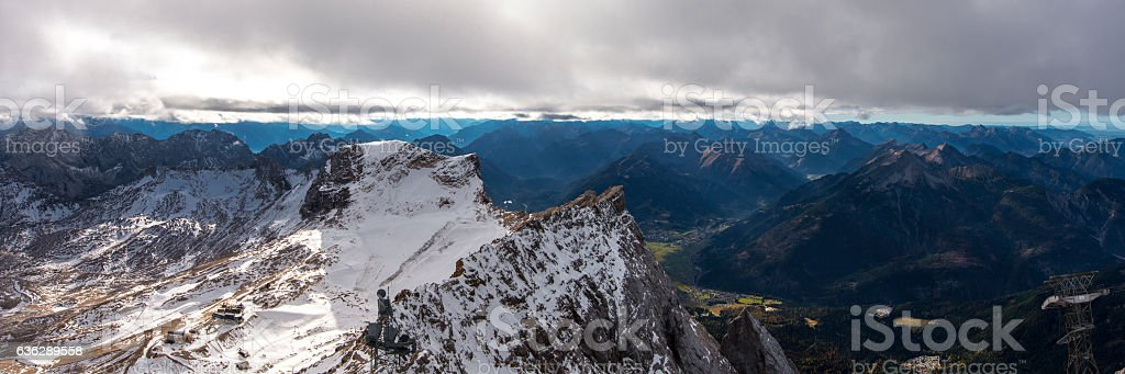 Alps panorama as seen from the Zugspitze in late Autumn. stock photo
