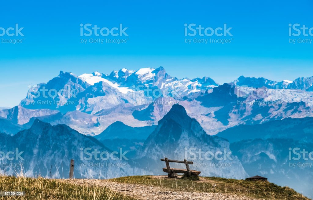 Alps panorama from Rigi Kulm (Summit of Mount Rigi, Queen of the Mountains), canton Schwyz, central Switzerland stock photo