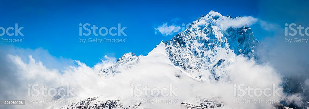 Alps snow capped mountain peaks panorama Aiguille Verte Chamonix France stock photo
