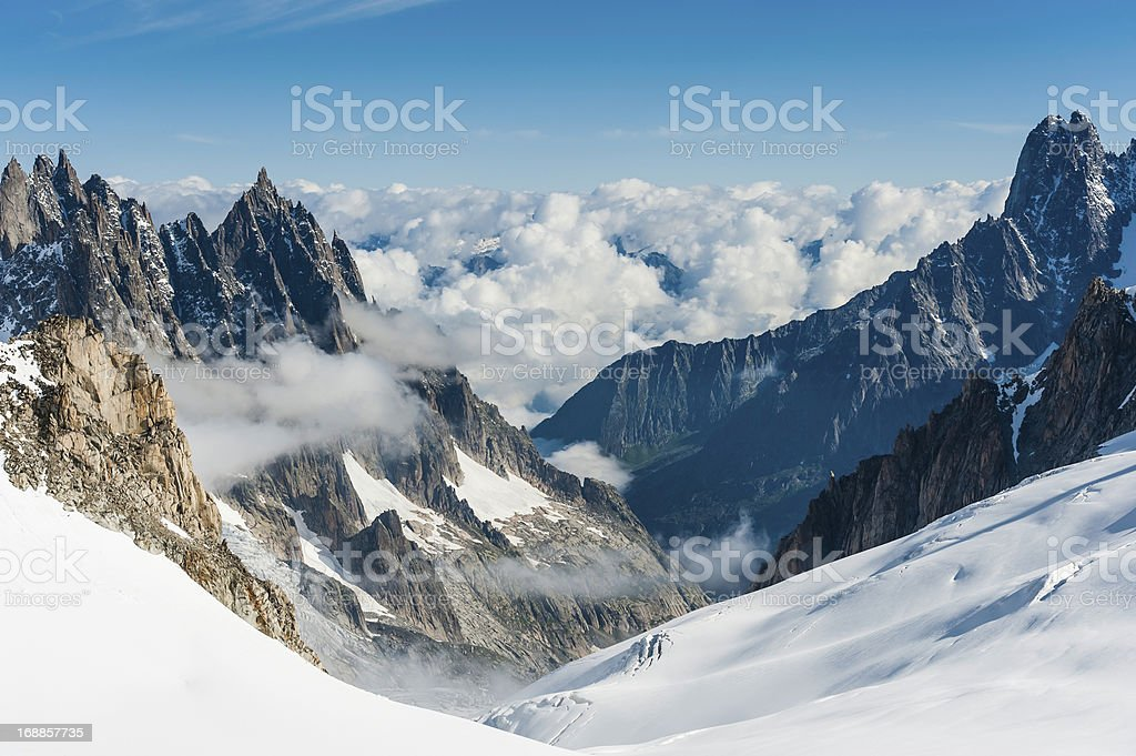 Alps snowy glaciers dramatic pinnacles above Chamonix France stock photo