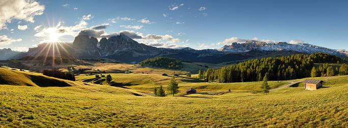 istock Alps sunrise green mountain panorama landscape, Alpe di Siusi 615410788