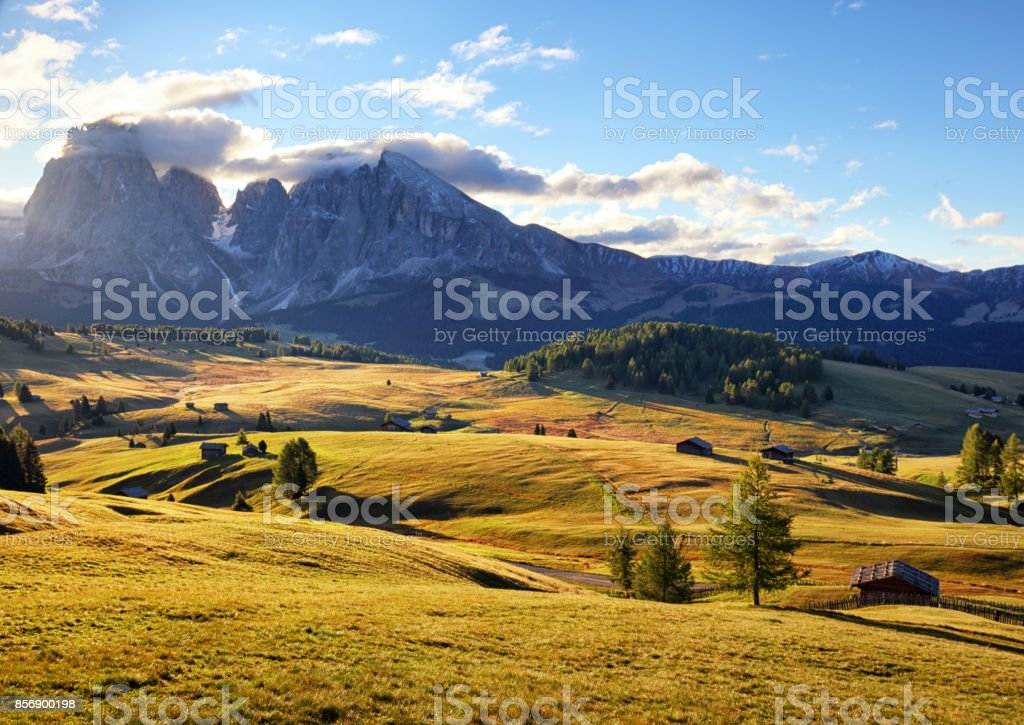 Alps sunrise green mountain panorama landscape, Alpe di Siusi stock photo