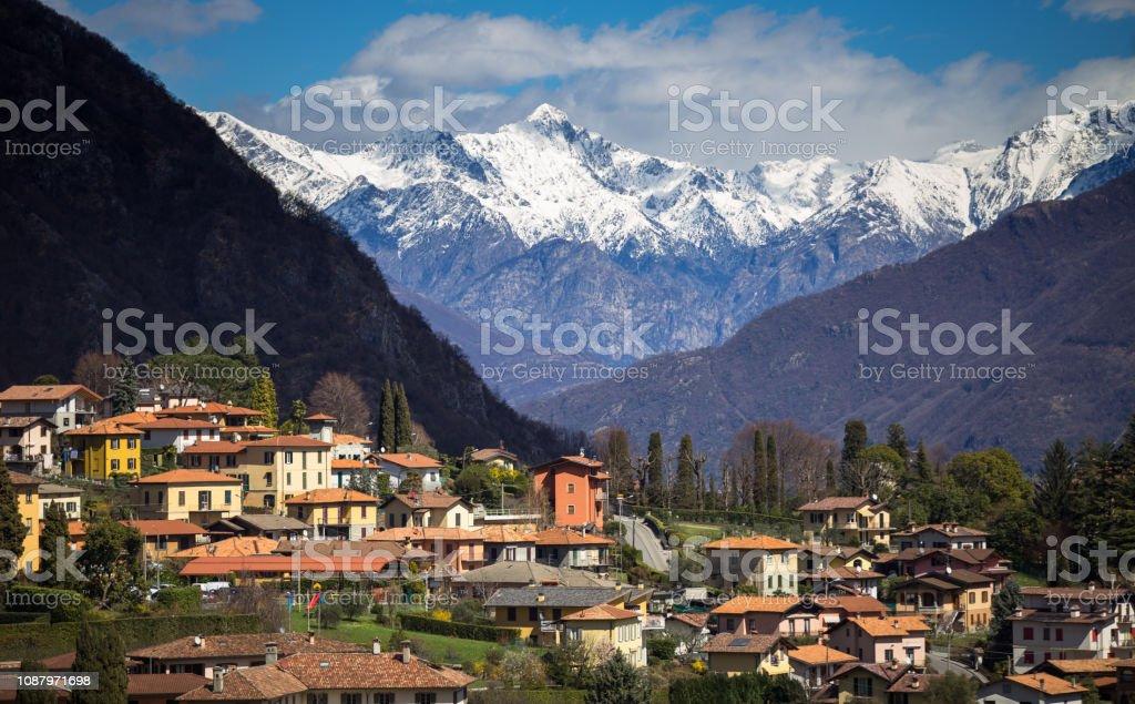 Alps Towering Over Menaggio, Italy stock photo