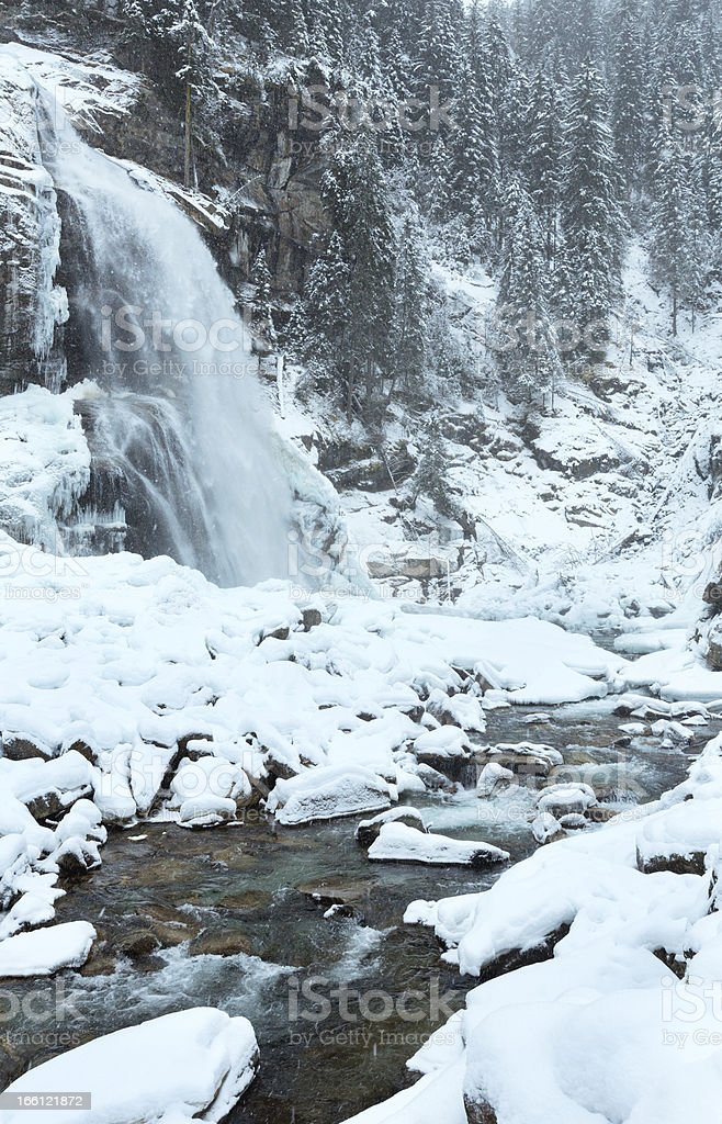 Alps waterfall winter view royalty-free stock photo