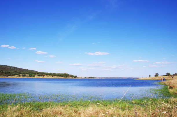 alqueva lake near monsaraz village, portugal. - fotos de barragem portugal imagens e fotografias de stock