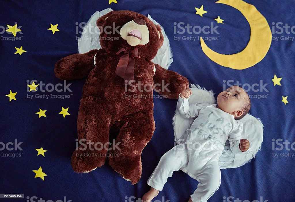 Alright Teddy, it's up to us to protect the world stock photo
