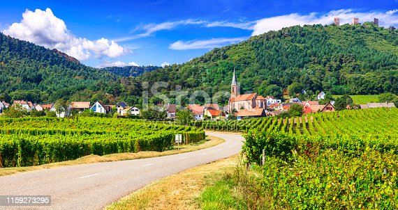 scenic vilages of Alsace in France near Germany, with traditional half timbered houses