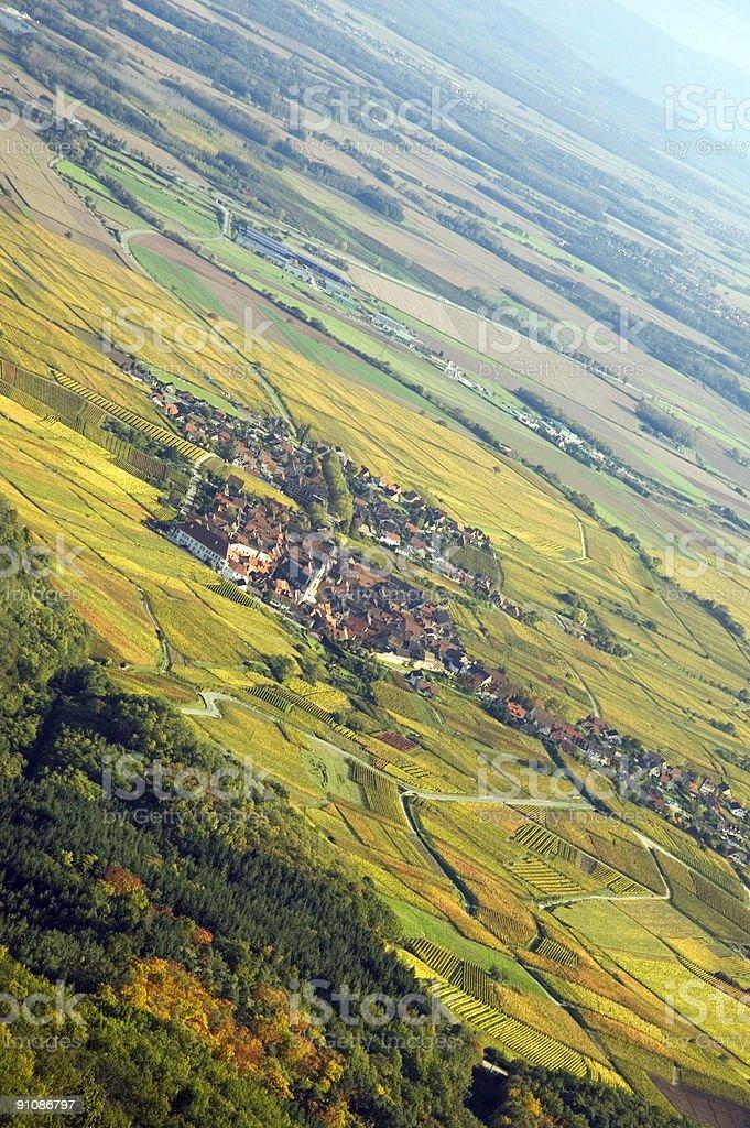 Alsacian Autumn - Aerial View royalty-free stock photo