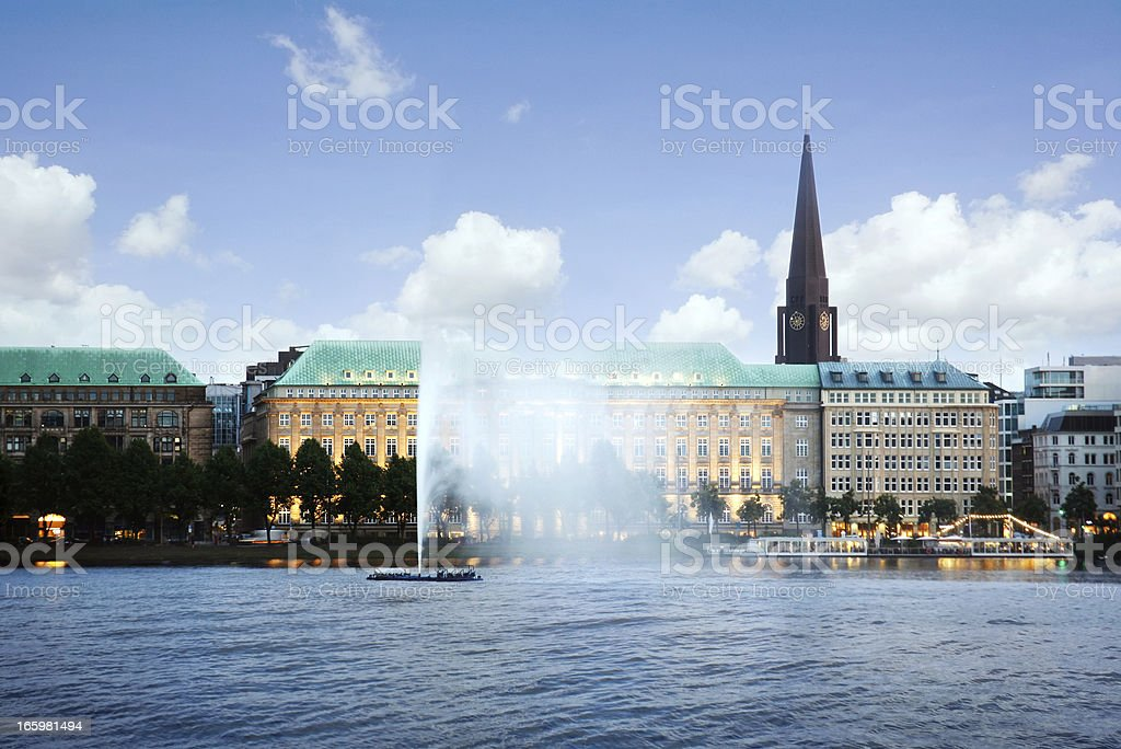 Alster Lake and Downtown Hamburg, Germany - Alster Lake Hamburg royalty-free stock photo