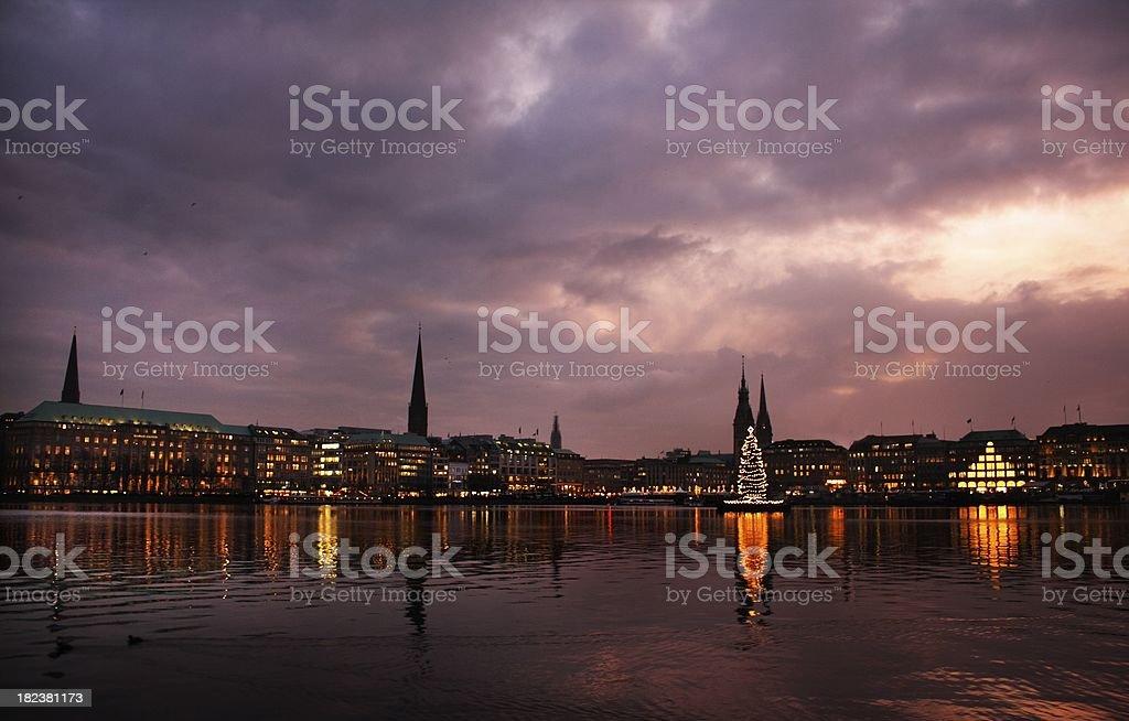 Alster lake, Hamburg, Dezember stock photo