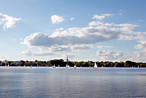 Alster lake hamburg in summer with little boats