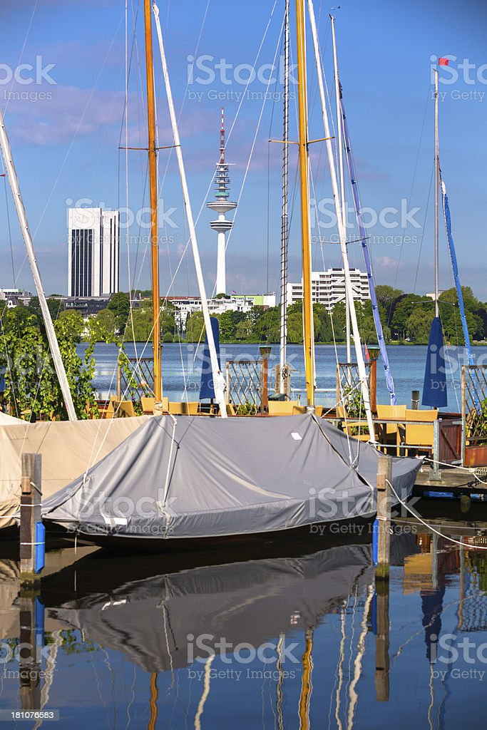 alster lake in the morning royalty-free stock photo