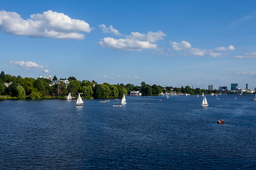 Alster Lake on a summer day, Hamburg