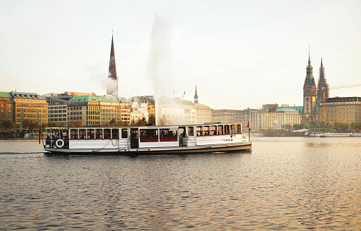 Alster Lake with tourist cruise boats hamburg, germany